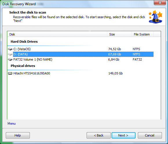 NTFS Recovery Wizard Screenshot